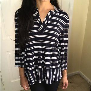 Talbots petites soft 3/4 sleeve stripe t shirt